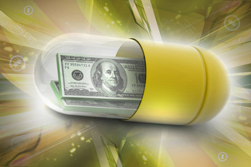 3d illustration of  pill filled with dollar