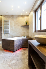 Modern bathtub in luxury bathroom
