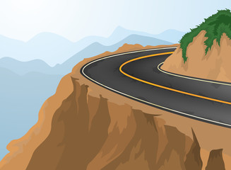 Curves and deep abyss,road and nature vector background