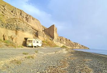 car caravan on the beach in summer