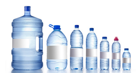 Different water bottles isolated on white, Water Bottles Mockup