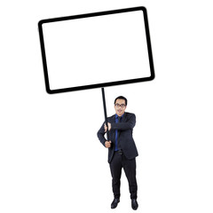 Businessperson holds empty board