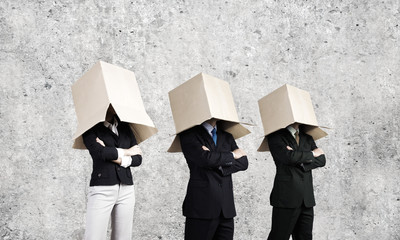 People with box on head