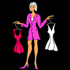 Vector illustration of a young girl buys a dress
