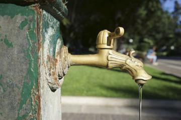 Antico rubinetto di una fontana pubblica