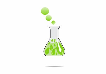 eco lab science glassware ecology logo vector