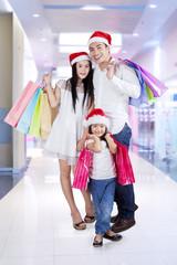 Happy family enjoy christmas sale