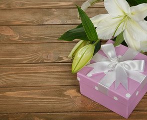 White lily and a box