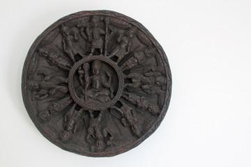 Indian wood carving with white copy space on the right