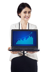 Pretty businesswoman presenting profit chart 2