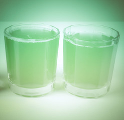 Retro look Green apple juice