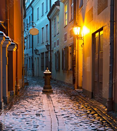 Narrow medieval street in the old Riga city, Latvia. - 73557698