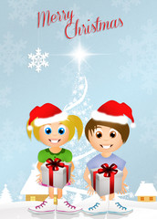 children with gifts at Christmas