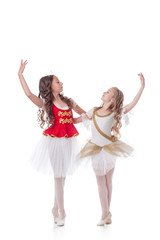 Beautiful young ballerinas dancing in pair