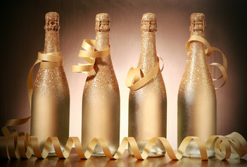 Sparking Golden Brown Christmas Bottles with Laces