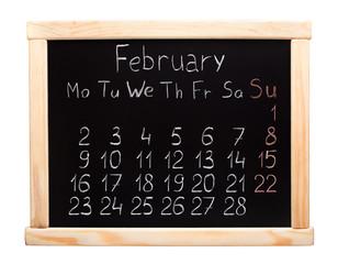 2015 year calendar. February. Week start on monday