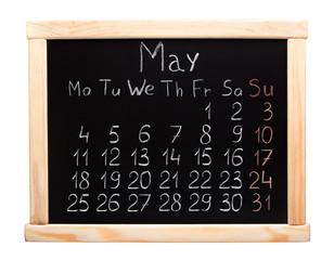 2015 year calendar. May. Week start on monday