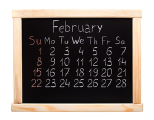 2015 year calendar. February. Week start on sunday