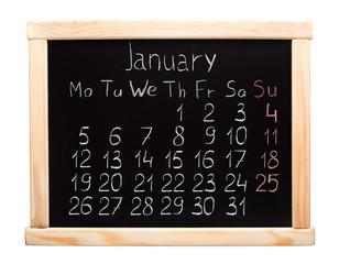2015 year calendar. January. Week start on monday