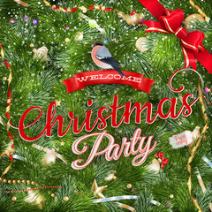 Christmas Party poster design template. EPS 10