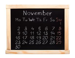 2015 year calendar. November. Week start on monday