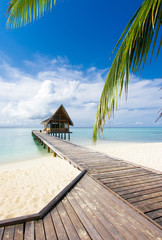 Beautiful vivad over beach with the water villas