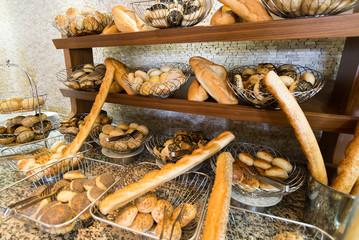 Delicious bread on  counter shop
