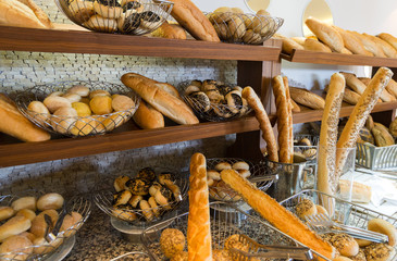 Delicious bread on  counter shop