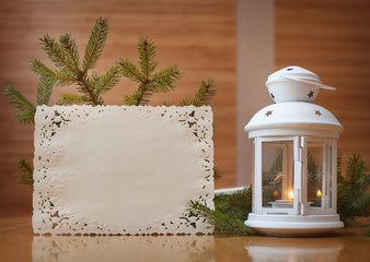 Christmas invitation with place for your text, frame of trees