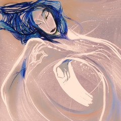 The blue fairy, drawing on paper