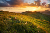 Mountain field during sunset. Beautiful natural landscape