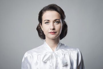 Attractive woman with vintage hairstyle