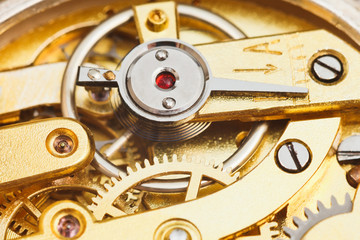 brass mechanical movement of retro watch
