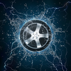 Car Wheel Water