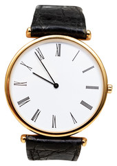 five minutes to ten o'clock on dial of wristwatch