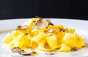 Plate of pasta.Tagliatelli with fresh truffle.