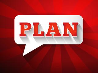 PLAN Message bubble, promotional background, presentation