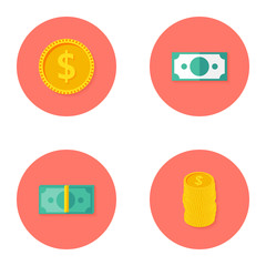 Money Circle Flat Iconі Set