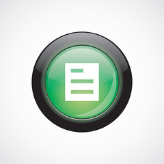 list glass sign icon green shiny button