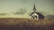 Leinwanddruck Bild - Old abandoned white wooden chapel on prairie at sunset with clou