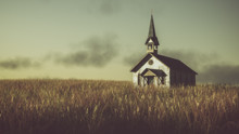 "Постер, картина, фотообои ""Old abandoned white wooden chapel on prairie at sunset with clou"""