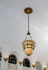 Ornate Lamp on White Ceiling
