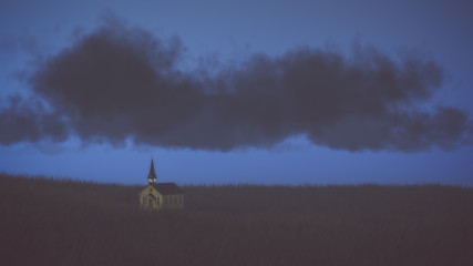 Old abandoned white wooden church on prairie with dark cloudy sk