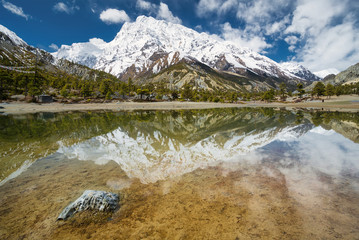 Lake and high mountains. Beautiful natural landscape