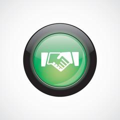 Handshake glass sign icon green shiny button