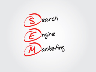 Hand writing SEM Search Engine Marketing vector concept, chart