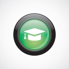 education glass sign icon green shiny button