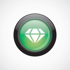 diamond glass sign icon green shiny button