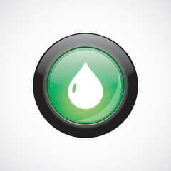 drop glass sign icon green shiny button