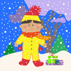 Boy on a winter background